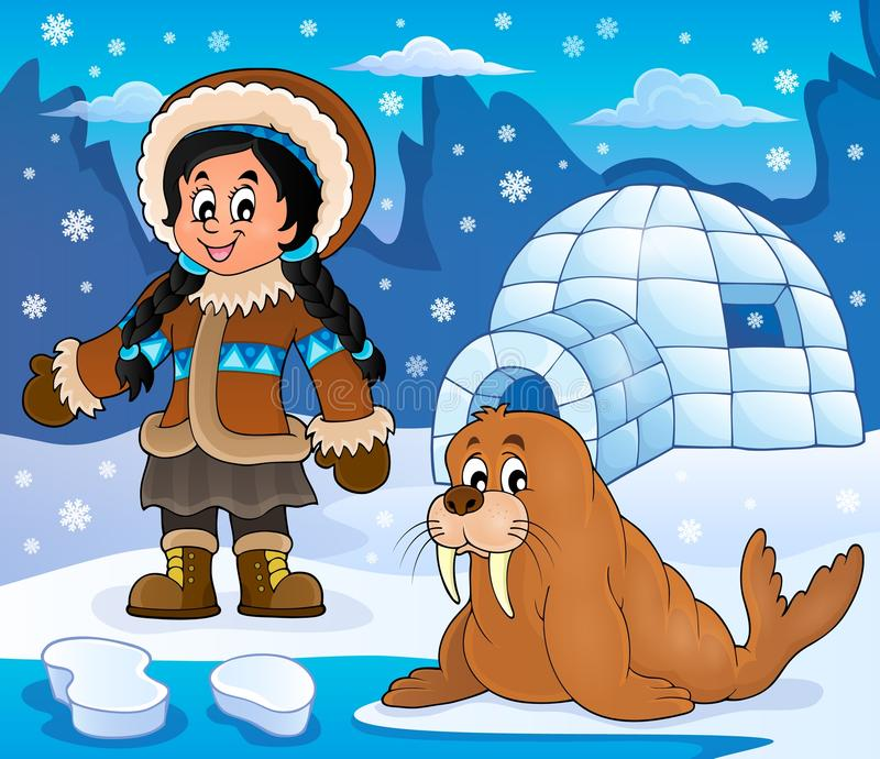 Noordpoolthemabeeld 4 royalty-vrije illustratie