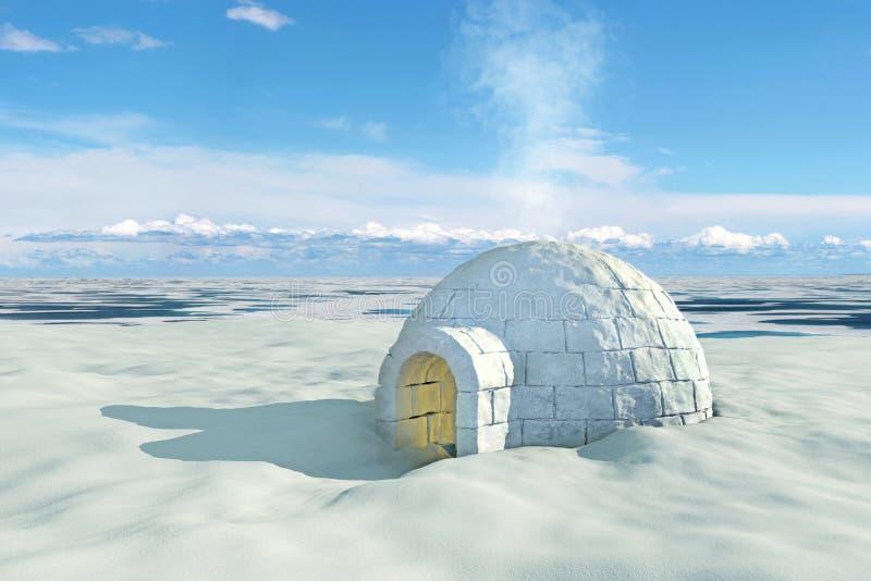 Noords landschap met iglo stock illustratie