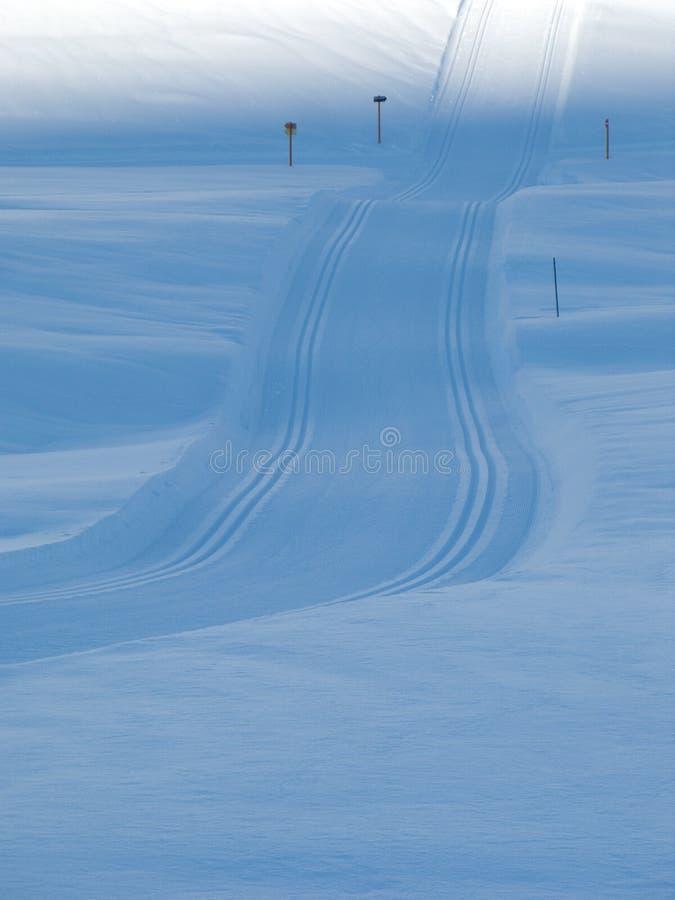 Noordse het ski?en sporen in de Franse alpen stock afbeelding