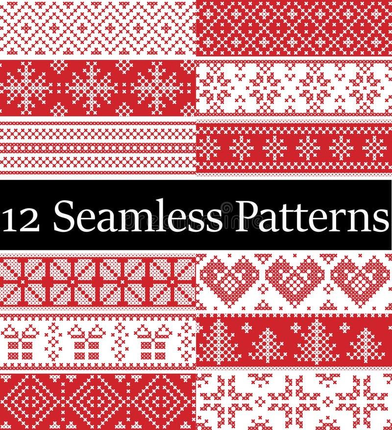Noordse stijl vectordiesteekproeven door Skandinavische Kerstmis, feestelijk de winter naadloos patroon in dwarssteek met hart, s vector illustratie