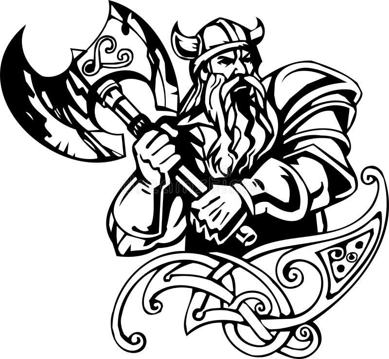 Noordse Viking - vectorillustratie. Vinyl-klaar. royalty-vrije illustratie