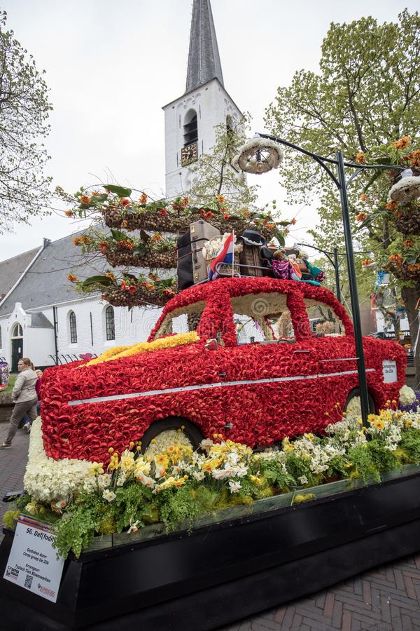 Platform with tulips and hyacinths during the traditional flowers parade Bloemencorso from Noordwijk to Haarlem in the Netherland. Noordwijkerhout, Netherlands royalty free stock photography