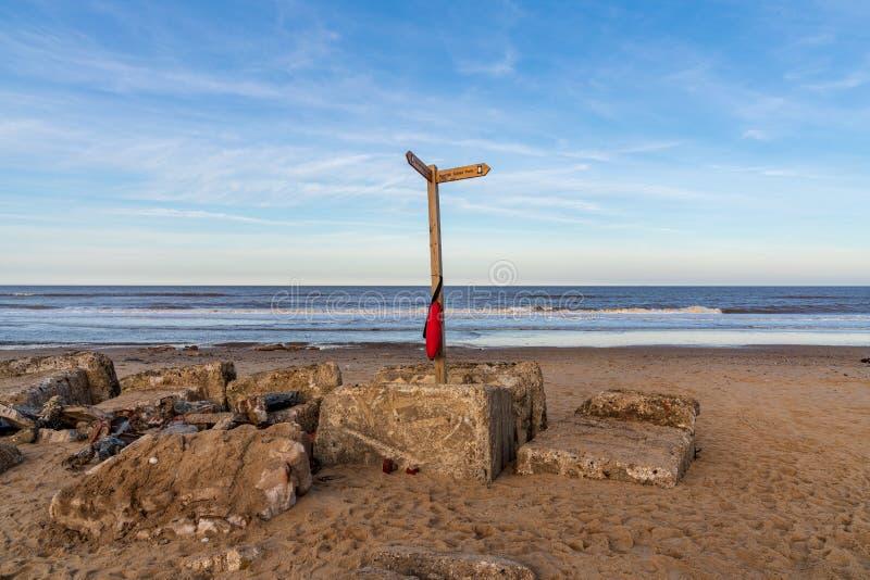 Noordzeekust in Nieuwpoort, Norfolk, Engeland, het UK stock foto's