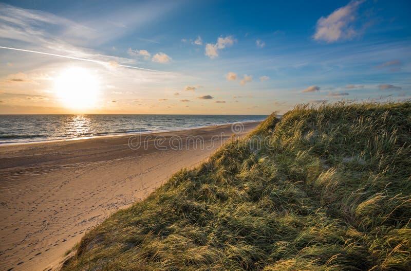 Noordzeestrand, de kust van Jutland in Denemarken stock afbeelding