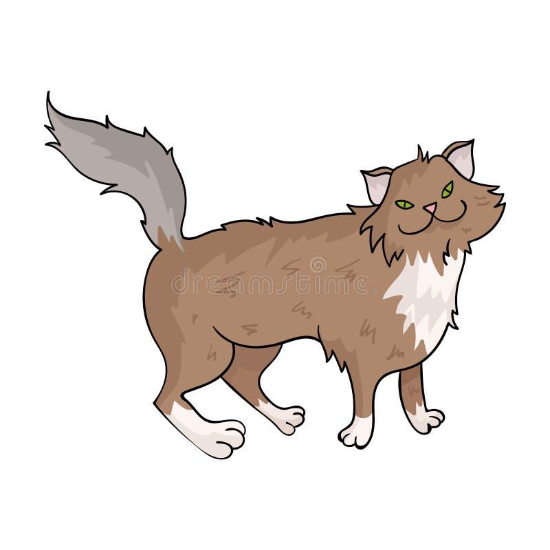 Noors Forest Cat-pictogram in beeldverhaalstijl op witte achtergrond Van de het symboolvoorraad van kattenrassen de vectorillustr vector illustratie