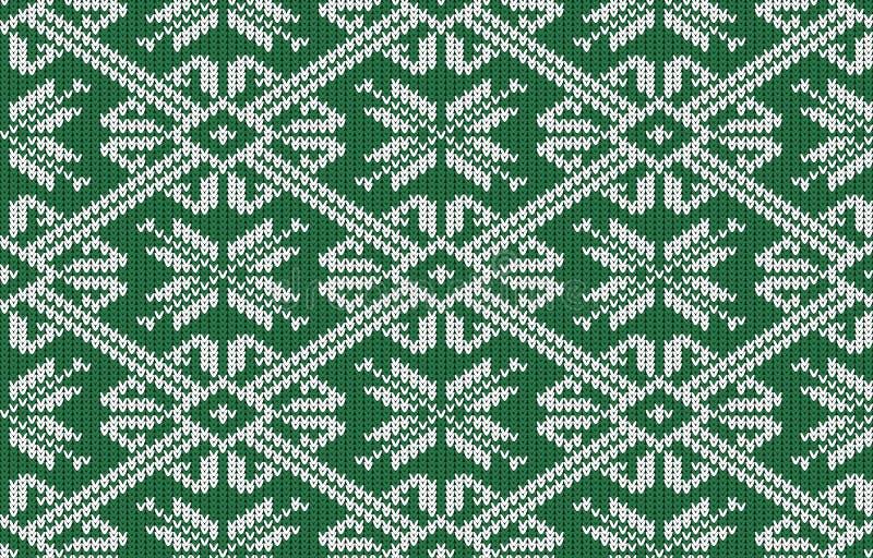 Noors gebreid patroon met sneeuwvlokken in uitstekende groene kleur royalty-vrije illustratie
