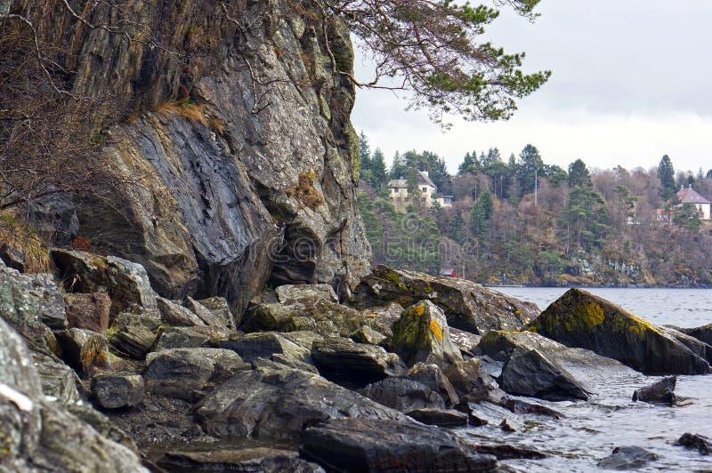 Noorse fjorden en bergen Rotsachtige kust, golven en bomen bergen stock fotografie