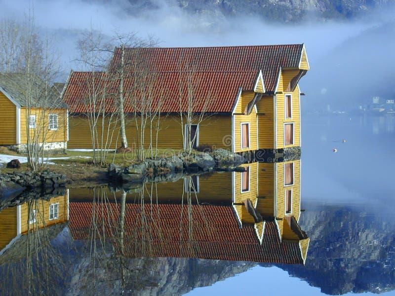 Noorse huizen stock foto's