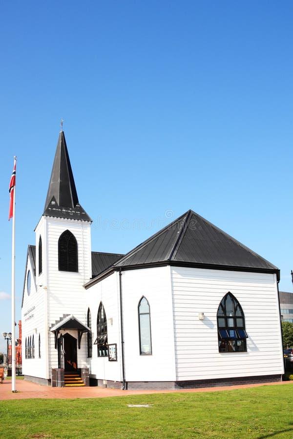 Noorse Kerk, de Baai van Cardiff royalty-vrije stock afbeelding