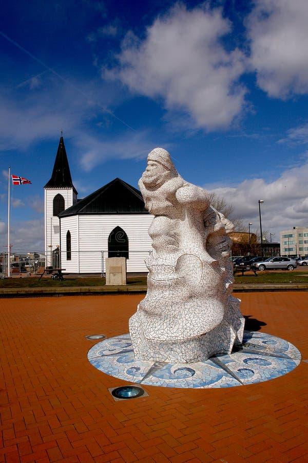 Noorse Kerk in de baai van Cardiff, Wales. royalty-vrije stock afbeelding
