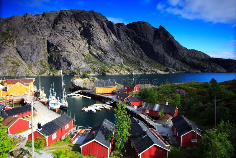 Noorse landschap en overzees stock afbeeldingen