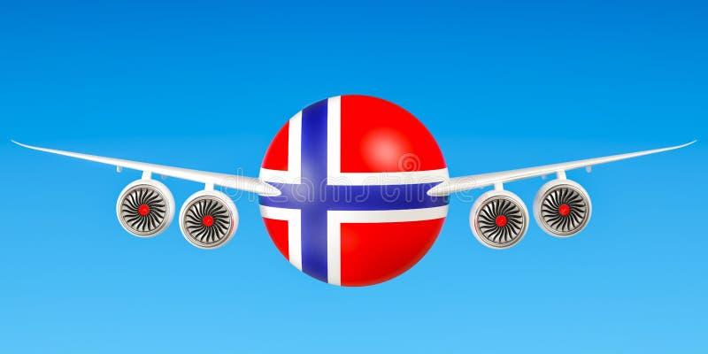 Noorse luchtvaartlijnen en het vliegen ` s concept het 3d teruggeven stock illustratie