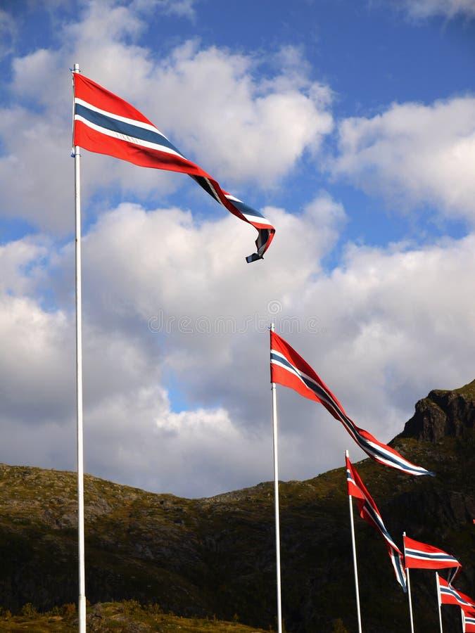 Noorse vlaggen stock foto's