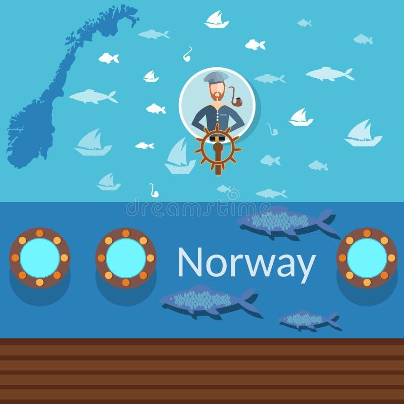 Noorse zeeman, kaarten van Noorwegen, industriële visserij, het reizen stock illustratie