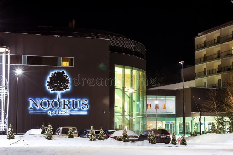 Noorus温泉旅馆多雪的冬天纳尔瓦约埃苏爱沙尼亚 图库摄影