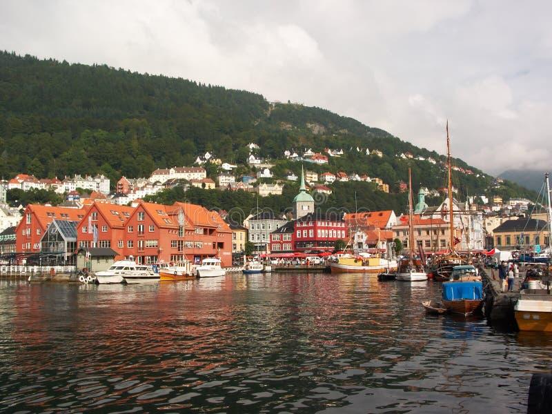 Noorwegen. De haven van Bergen stock fotografie