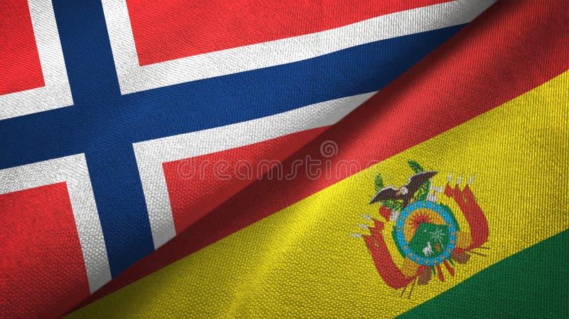 Noorwegen en Bolivië twee vlaggen textieldoek, stoffentextuur stock illustratie