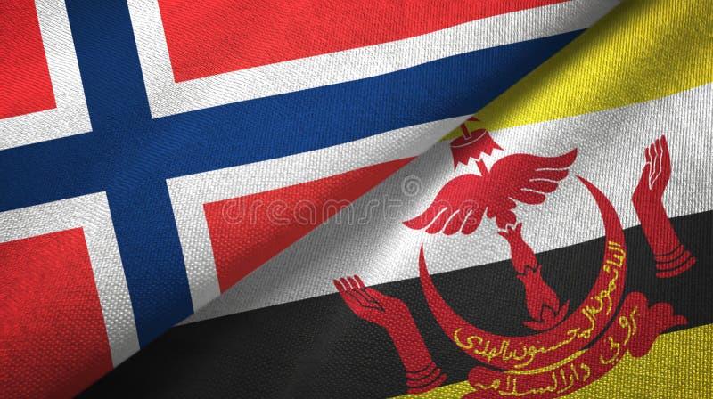 Noorwegen en Brunei twee vlaggen textieldoek stock illustratie