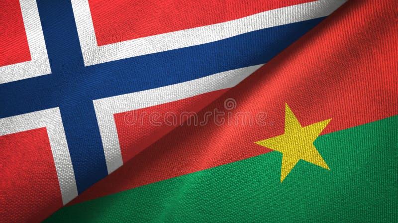 Noorwegen en Burkina Faso twee vlaggen textieldoek, stoffentextuur vector illustratie