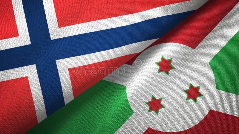 Noorwegen en Burundi twee vlaggen textieldoek, stoffentextuur royalty-vrije illustratie