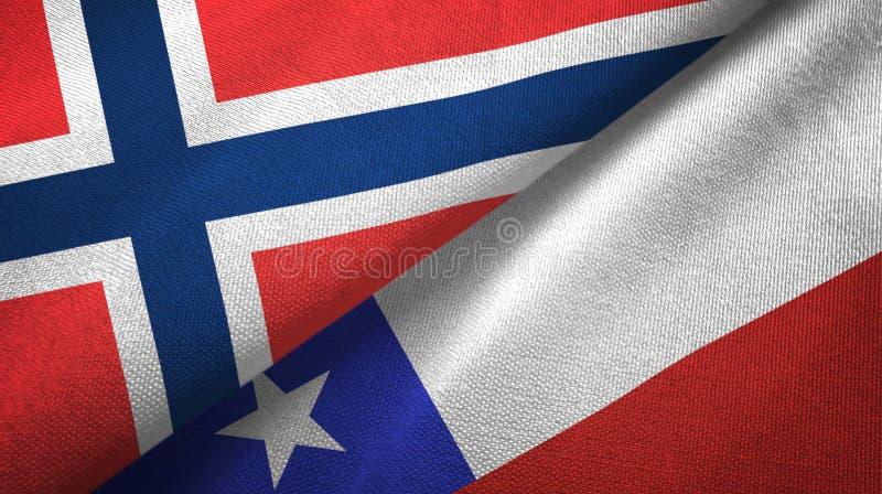 Noorwegen en Chili twee vlaggen textieldoek, stoffentextuur royalty-vrije illustratie