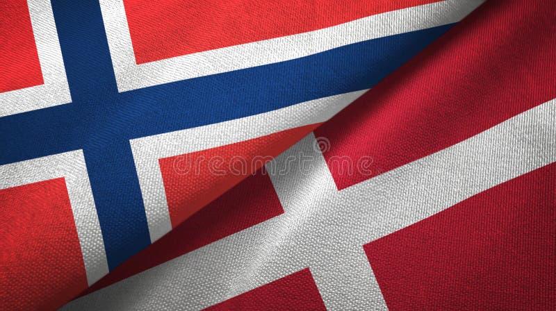 Noorwegen en Denemarken twee vlaggen textieldoek, stoffentextuur vector illustratie
