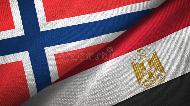 Noorwegen en Egypte twee vlaggen textieldoek stock illustratie