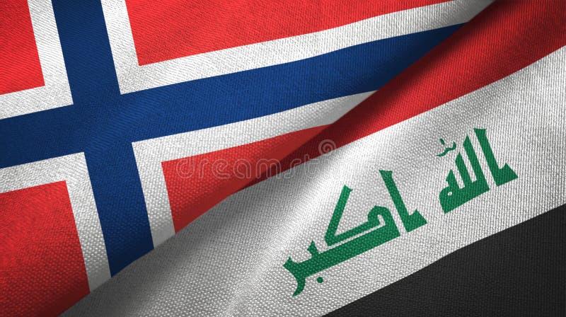 Noorwegen en Irak twee vlaggen textieldoek stock illustratie