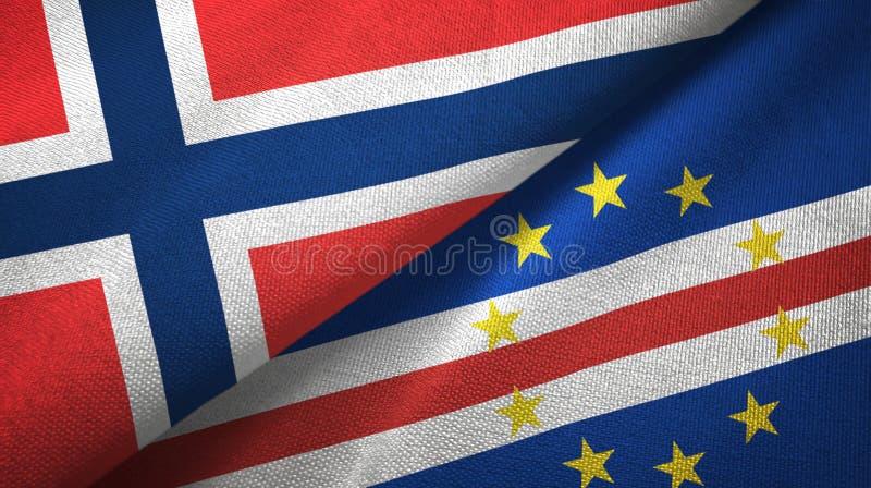 Noorwegen en Kaap Cabo Verde twee vlaggen textieldoek, stoffentextuur vector illustratie