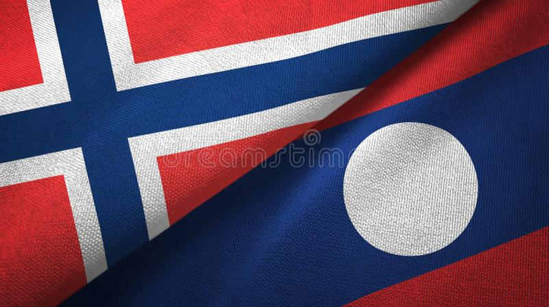 Noorwegen en Laos twee vlaggen textieldoek vector illustratie