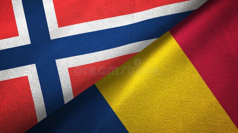 Noorwegen en Tsjaad twee vlaggen textieldoek, stoffentextuur royalty-vrije illustratie