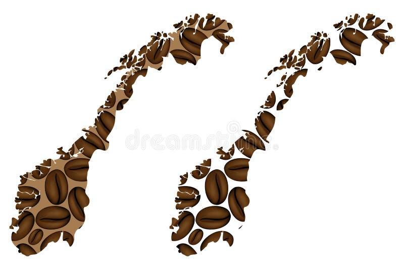 Noorwegen - kaart van koffieboon royalty-vrije illustratie