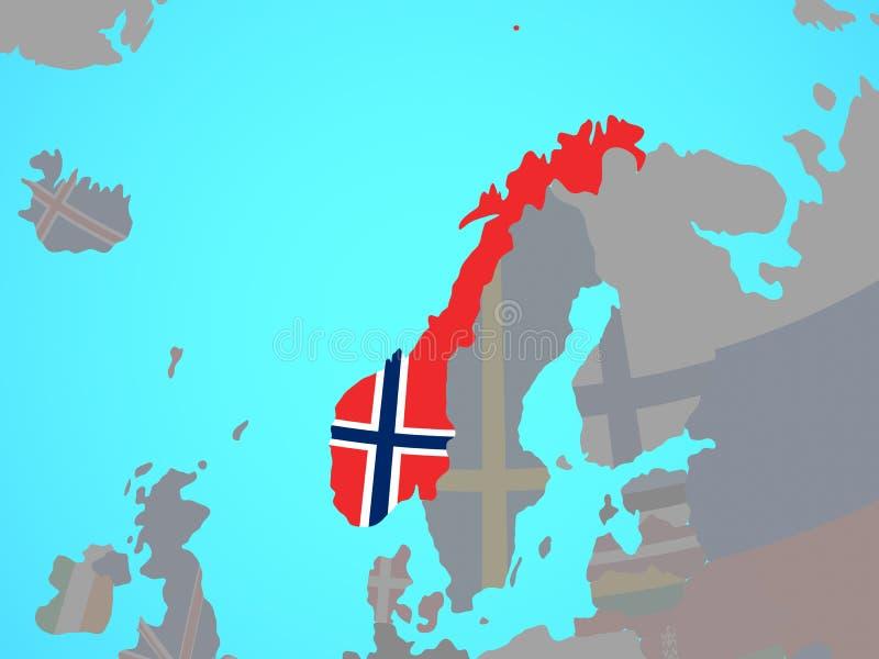 Noorwegen met vlag op kaart royalty-vrije illustratie