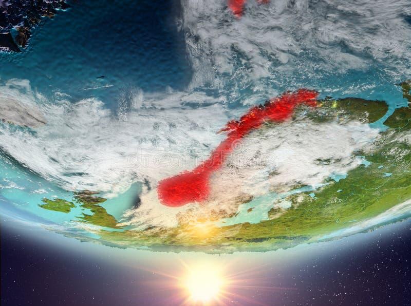 Noorwegen met zon royalty-vrije illustratie