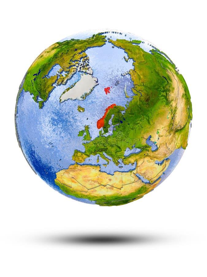 Noorwegen op bol vector illustratie