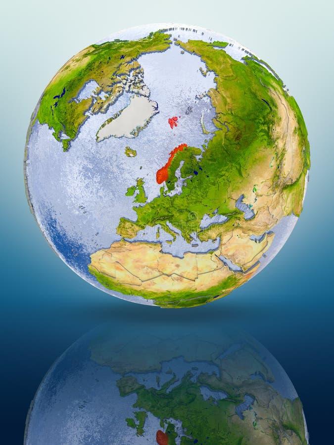 Noorwegen op bol royalty-vrije illustratie