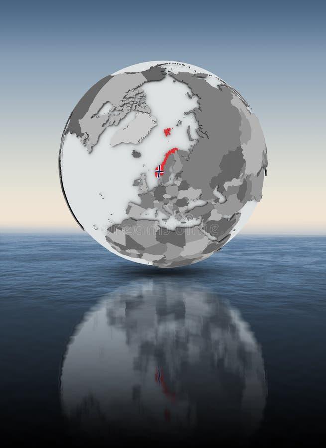 Noorwegen op bol hierboven - water stock illustratie