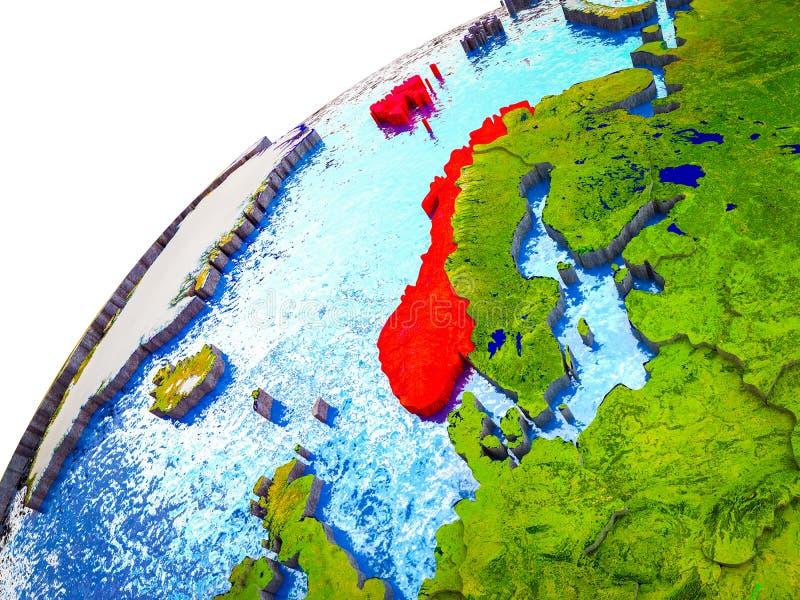 Noorwegen op 3D Aarde vector illustratie