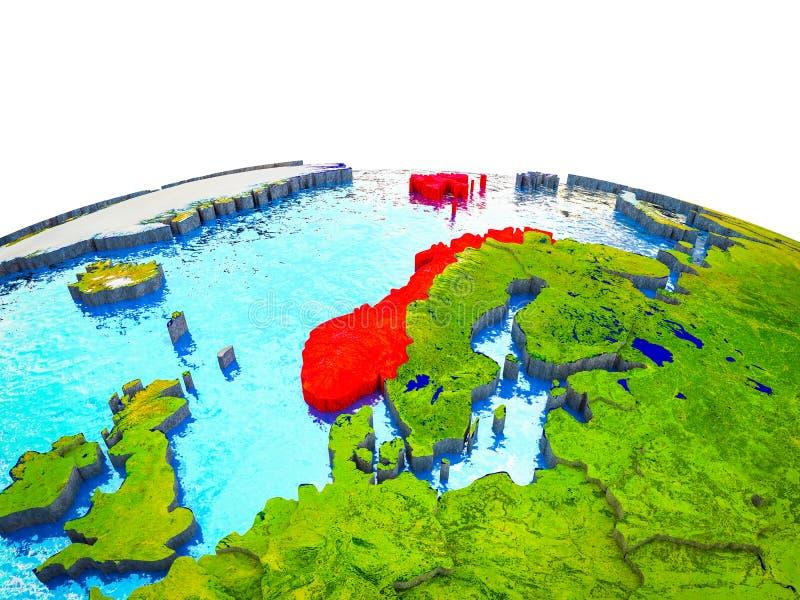 Noorwegen op 3D Aarde royalty-vrije illustratie