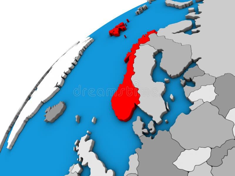 Noorwegen op 3D bol royalty-vrije illustratie