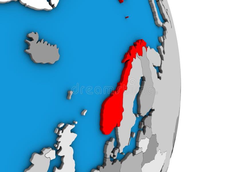 Noorwegen op 3D bol vector illustratie