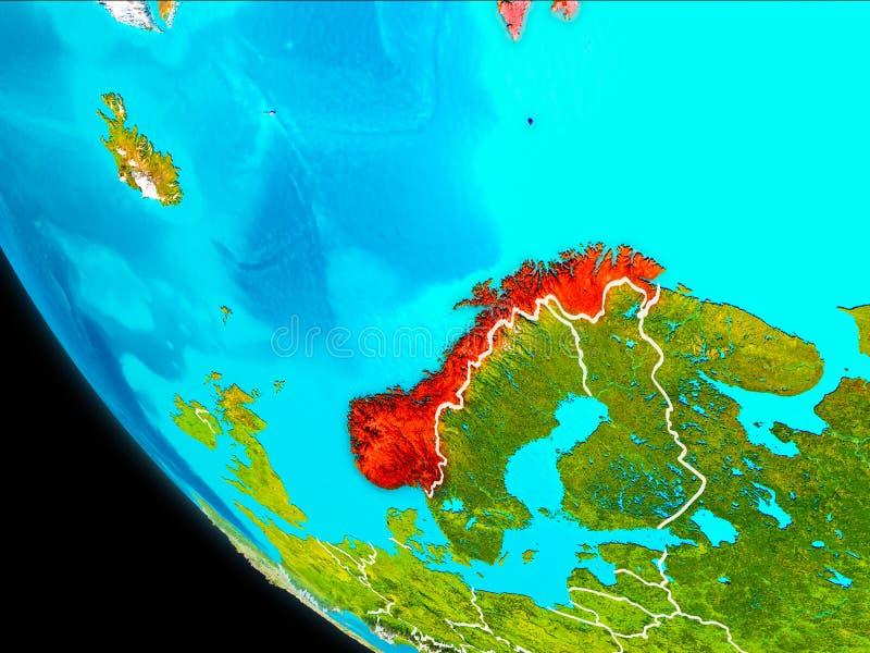Noorwegen ter wereld van ruimte stock illustratie