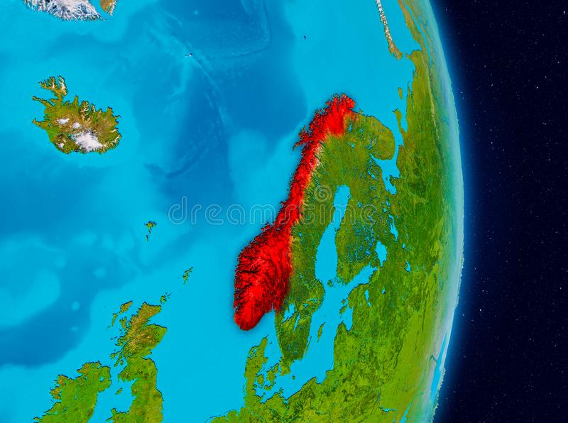 Noorwegen van ruimte stock illustratie