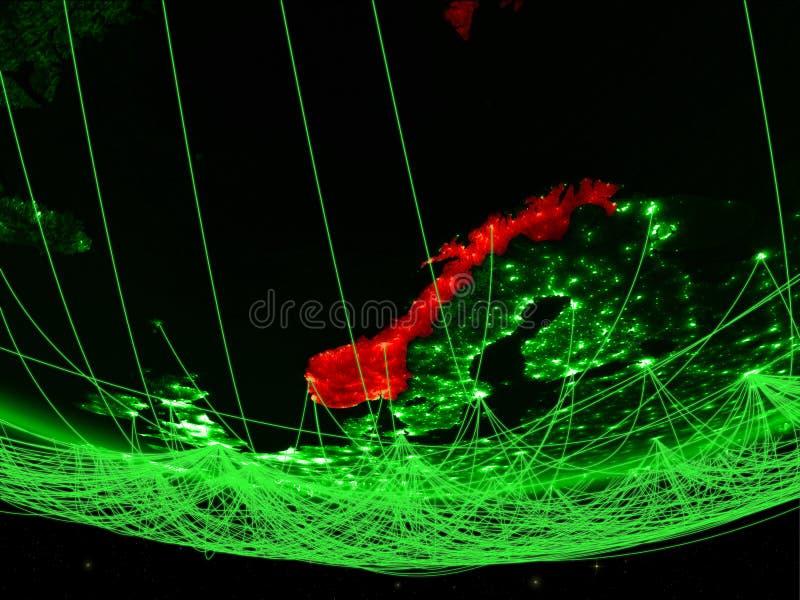 Noorwegen van ruimte met netwerk royalty-vrije stock foto's