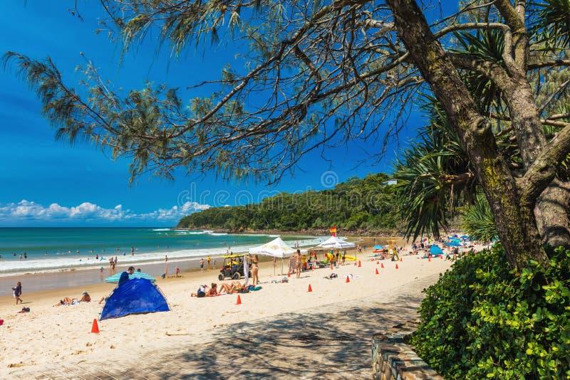 NOOSA, AUSTRALIA, FEB 17 2018: People enjoying summer at Noosa m. Ain beach - a famous tourist destination in Queensland, Australia royalty free stock photo