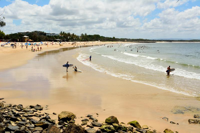 Beach in Laguna Bay in Noosa, Queensland. Noosa, Queensland, Australia - December 18, 2017. Beach in Laguna Bay in Noosa, Queensland, with people stock images