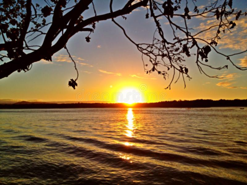 Sunset On The River In Noosa, Queensland, Australia Stock ...