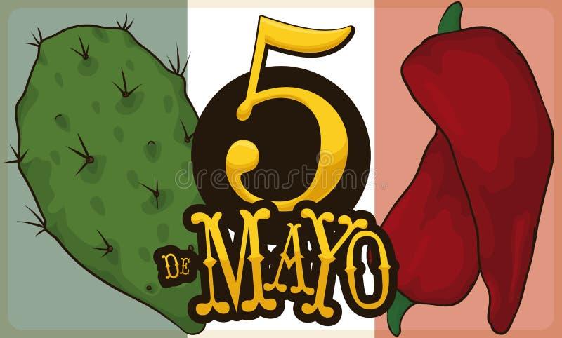 Nopal i Chili pieprz dla meksykanina Cinco de Mayo świętowania, Wektorowa ilustracja royalty ilustracja