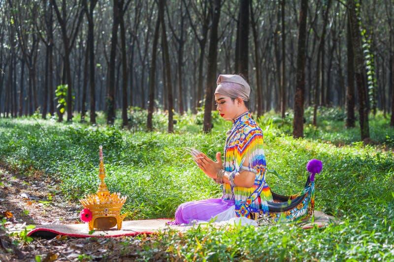 Nora jest klasycznym ludem dzielnicowym tanem Tajlandia i obraz royalty free