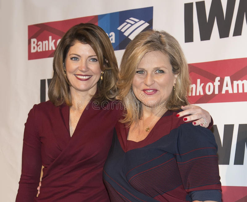 Norah O'Donnell and Cynthia McFadden. Co-hosts Norah O'Donnell and Cynthia McFadden arrive at the International Women's Media Foundation's 27th Annual Courage in stock image